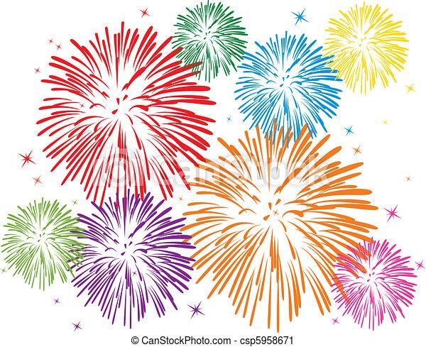 fuegos artificiales, colorido - csp5958671