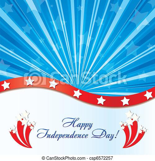 Antecedentes con elementos de la bandera de Estados Unidos con felicitaciones y fuegos artificiales, ilustración vectora - csp6572257