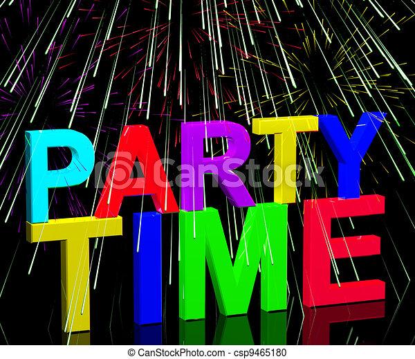 Palabras de fiesta con fuegos artificiales que muestran vida nocturna o discotecas - csp9465180