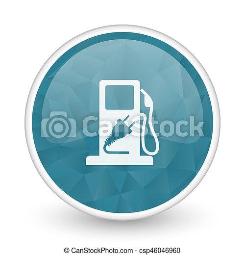 Fuel brillant crystal design round blue web icon. - csp46046960