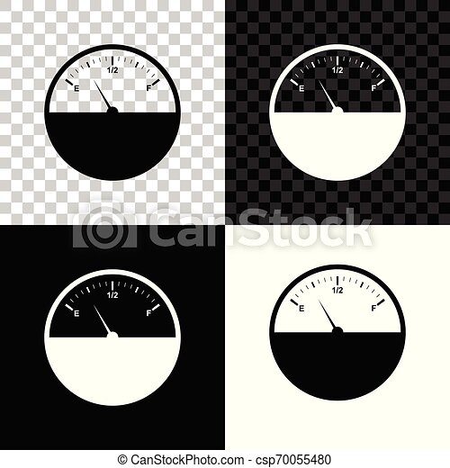 fuel gauge icon isolated on black white and transparent background full tank vector illustration can stock photo
