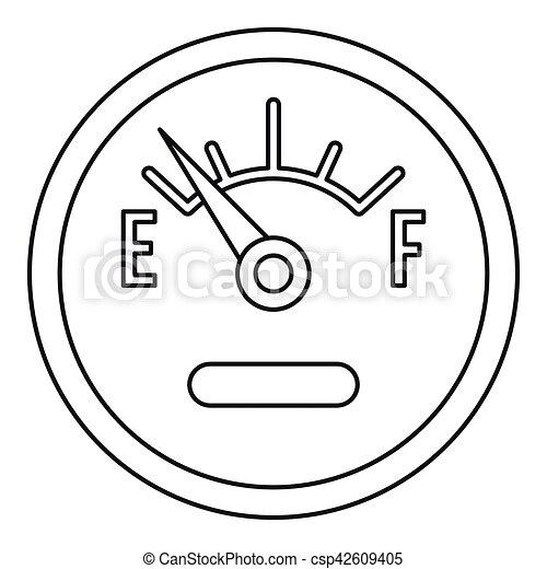 Fuel gauge showing empty icon, outline style