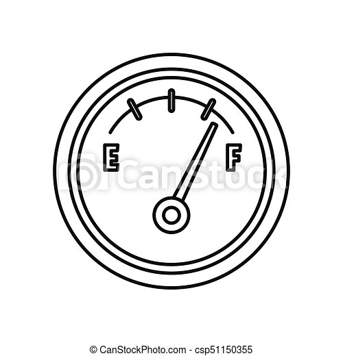 Fuel meter icon, outline style. Fuel meter icon. black outline ...