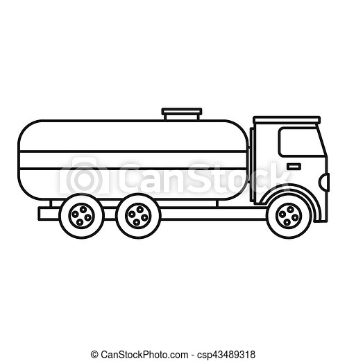 fuel tanker truck icon, outline style. fuel tanker truck clipart