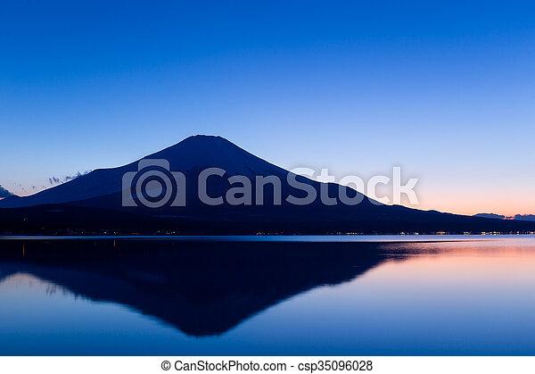 Fujisan and Lake Yamanaka at sunset - csp35096028