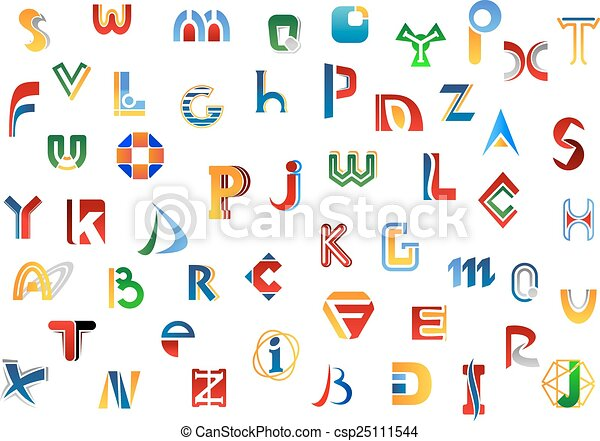 Full alphabet letters set with colorful signs and symbols for logo