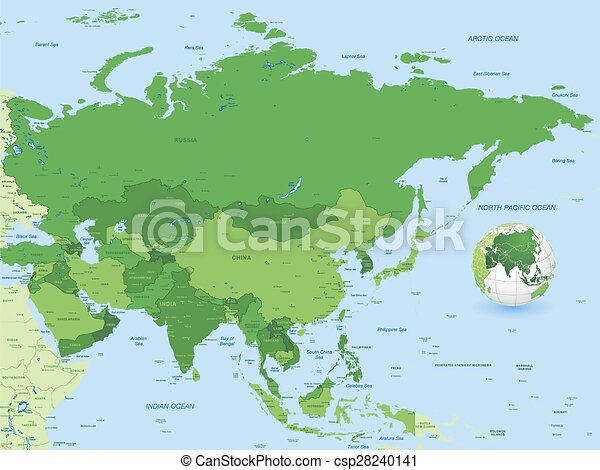 full asia green vector map