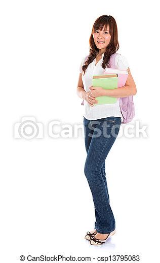 Full body Asian female student - csp13795083