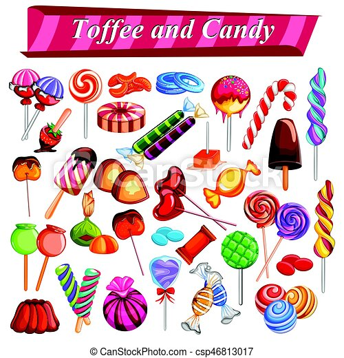Full collection of different colorful candy and toffee chocolate - csp46813017