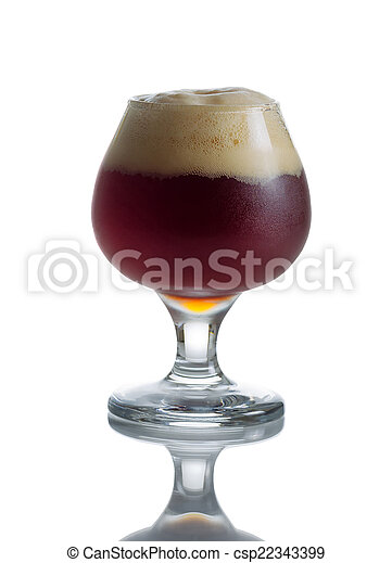 Full Draft Dark Beer in Glass Goblet  - csp22343399