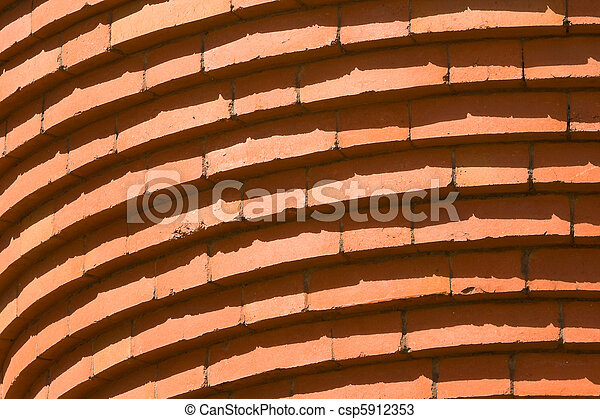 Full Frame Curved Bricks in Row Building Abstract - csp5912353
