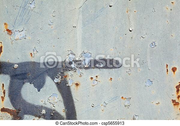 Full frame peeling gray paint rust metal graffiti. Full frame rusty ...