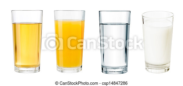 full glasses with different beverages isolated  set - csp14847286