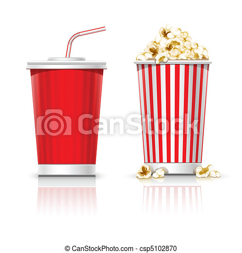 full glasses with drink and popcorn - csp5102870