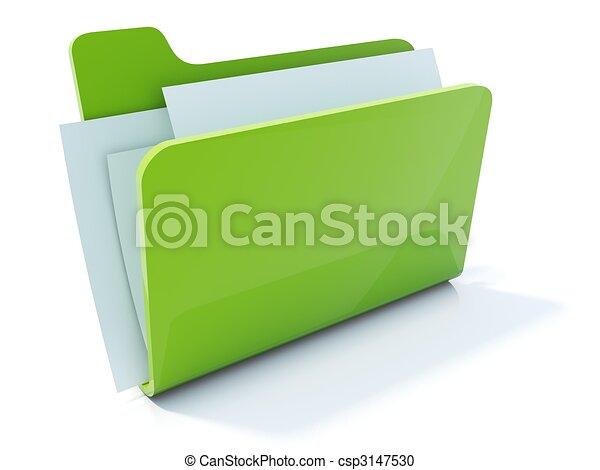 Full green folder icon isolated on white - csp3147530