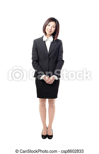 Full length Business woman smile standing - csp8602833