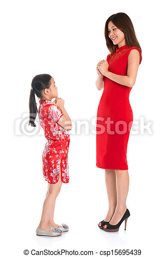 Chinese parent and child greeting to each other happy stock full length chinese parent and child greeting to each other m4hsunfo