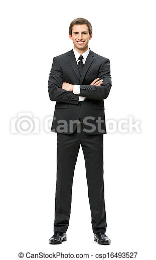 Full length of business man with hands crossed - csp16493527
