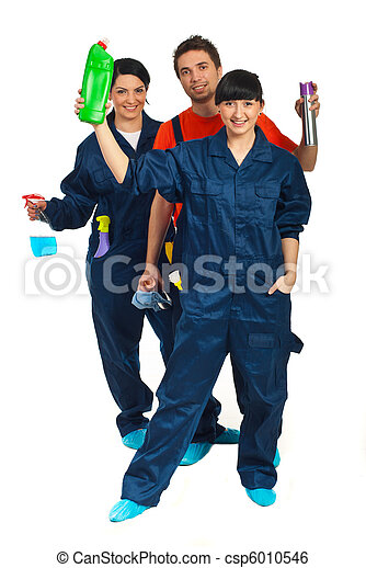 Full length of cleaning workers teamwork - csp6010546