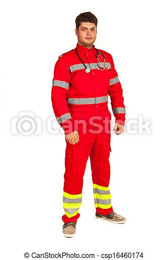 Full length of paramedic man - csp16460174