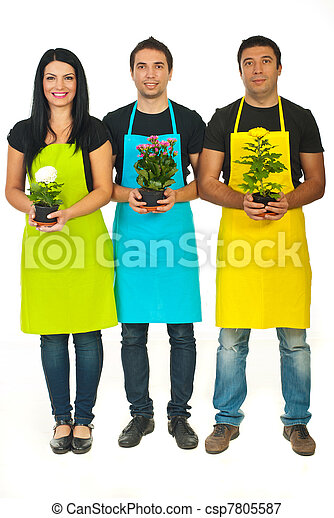 Full length of three florists team - csp7805587