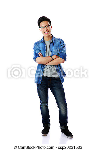 Full-length portrait of a happy asian man with arms folded over white background - csp20231503