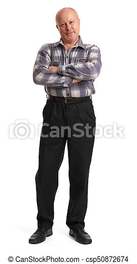 full length portrait of an old man - csp50872674