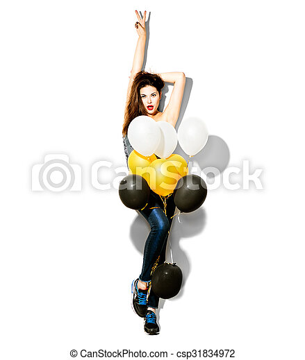 Full length portrait of beauty fashion model girl with colorful balloons - csp31834972
