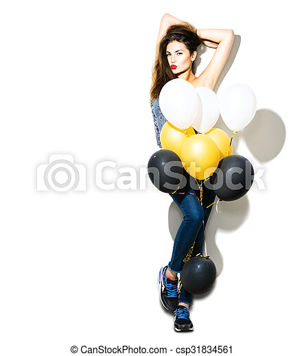 Full length portrait of beauty fashion model girl with colorful balloons - csp31834561