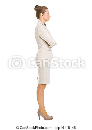 Full length portrait of business woman looking on copy space - csp14116146
