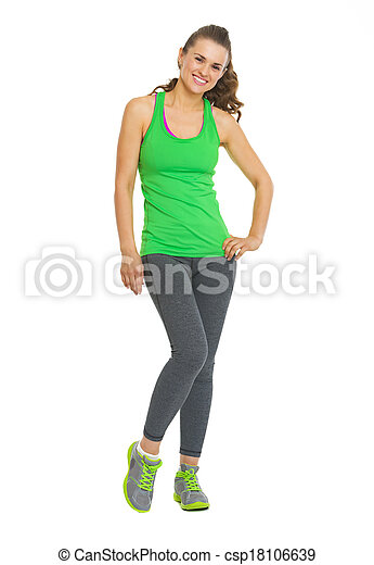 Full length portrait of fitness young woman - csp18106639