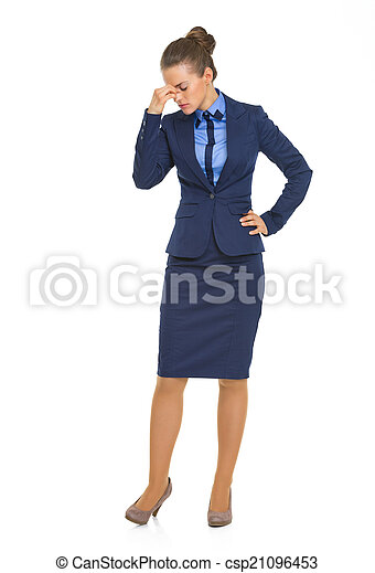 Full length portrait of frustrated business woman - csp21096453