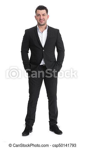 full length portrait of handsome businessman - csp50141793