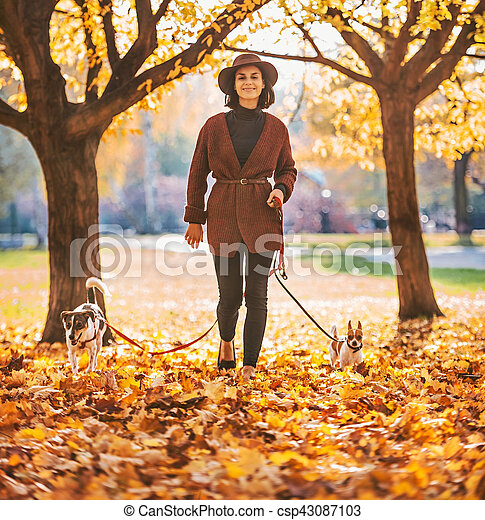 Full length portrait of happy young woman walking with dogs outd - csp43087103