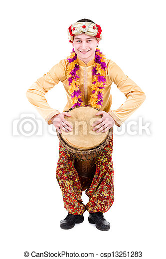 full length portrait of indian man with a drum - csp13251283  sc 1 st  Can Stock Photo & Full length portrait of indian man with a drum in studio ...