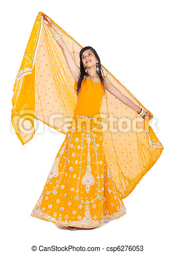 full length portrait of indian woman - csp6276053