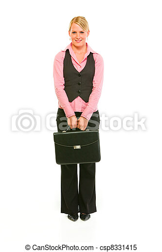 Full length portrait of modern business woman with briefcase - csp8331415