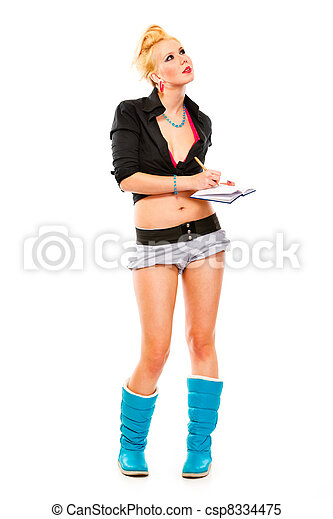 Full length portrait of pensive young girl with notebook and pen looking at copy space isolated on white - csp8334475