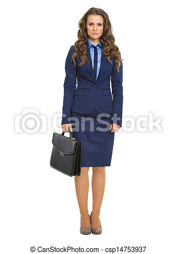 Full length portrait of serious business woman with briefcase - csp14753937