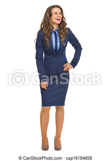 Full length portrait of smiling business woman looking on copy space - csp16184656