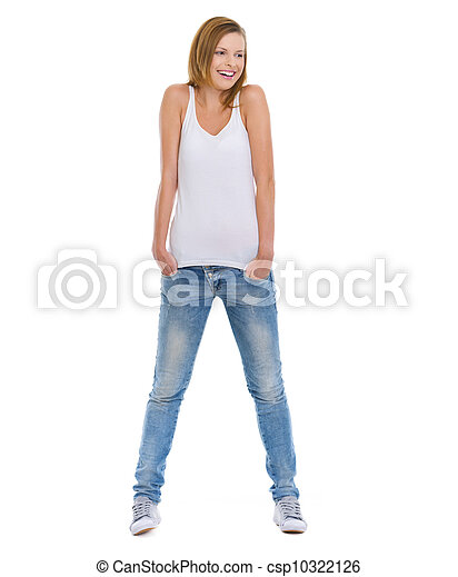 Full length portrait of smiling teenage girl looking on copy space - csp10322126
