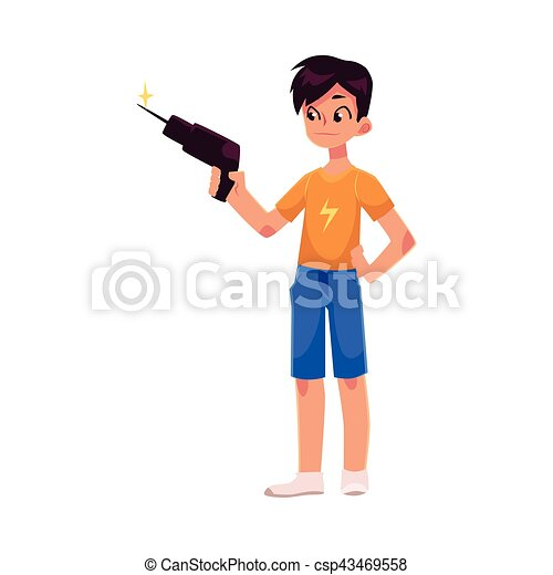 Full length portrait of teenage boy holding a drill - csp43469558