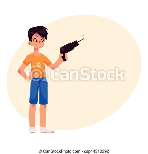 Full length portrait of teenage boy holding a drill - csp44310392