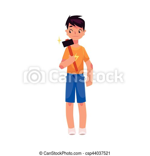 Full length portrait of teenage boy holding a hammer - csp44037521