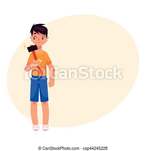 Full length portrait of teenage boy holding a hammer - csp44245228
