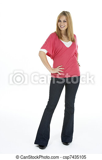 Full Length Portrait Of Young Woman - csp7435105