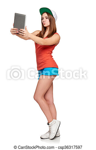Full length sporty female with digital tablet - csp36317597