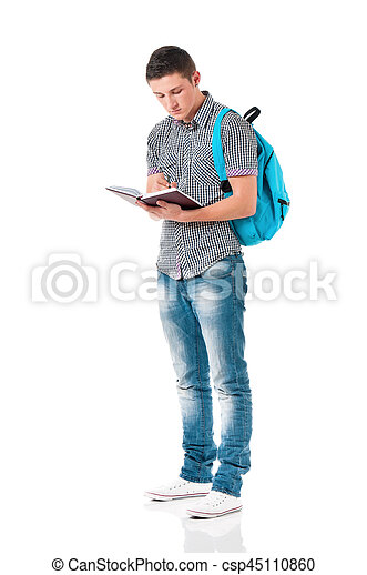 Full length student boy - csp45110860