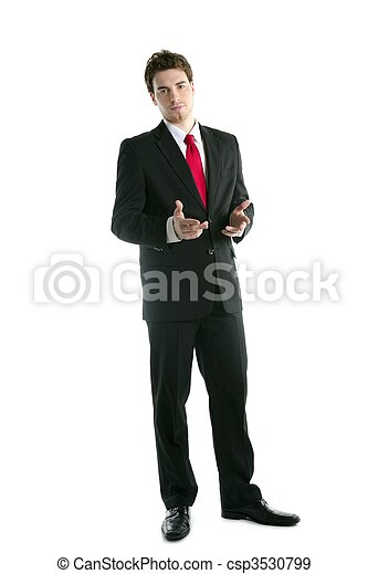 full length suit businessman talk hands gesture - csp3530799