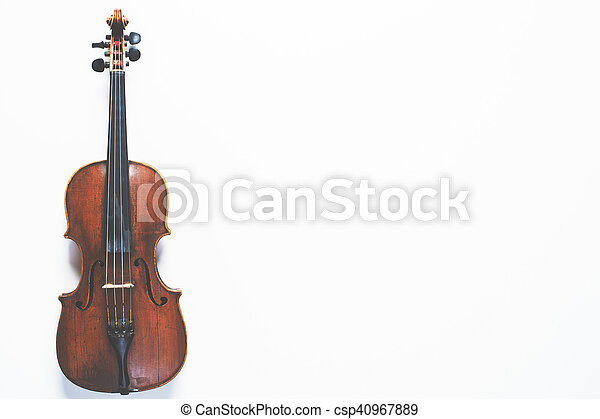 Full length violin on white background - csp40967889